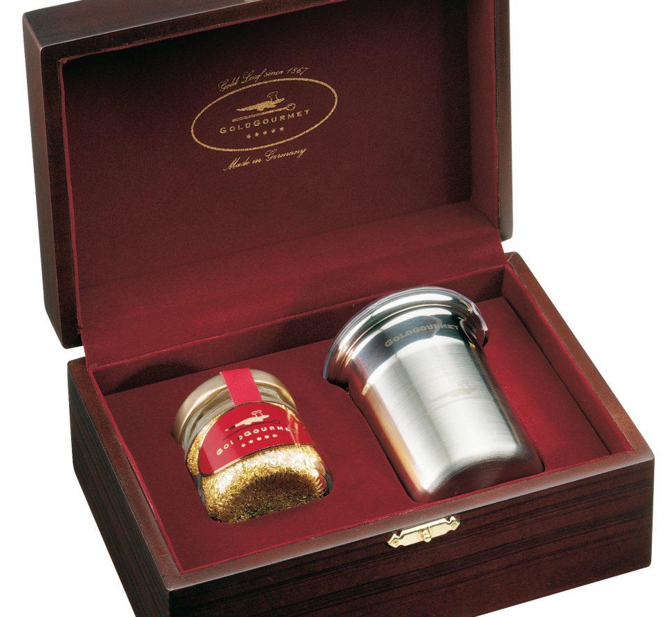 Geschenkschatulle mit Edelstahlstreuer und echtem Blattgold