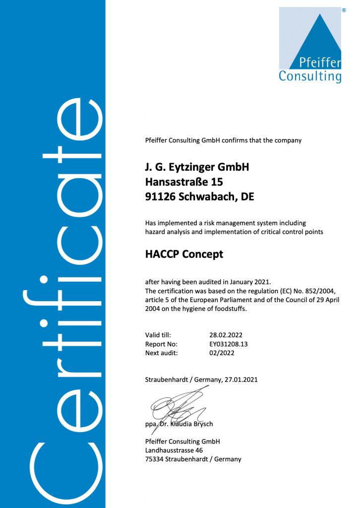 Gold Gourmet HACCP Zertifikat