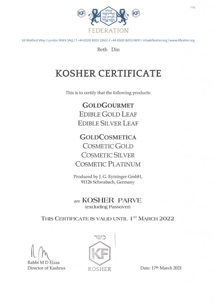 Gold Gourmet Kosher Zertifikat